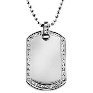 Stainless Steel Polished Cubic Zirconia Dog Tag Necklace