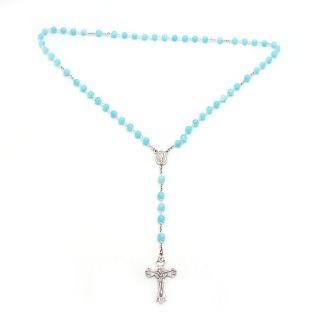 Millefiori Glass Bead Rosary Sterling Silver Necklace (Thailand
