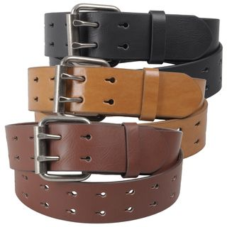 Journee Collection Womens Two Row Cut out Genuine Leather Belt