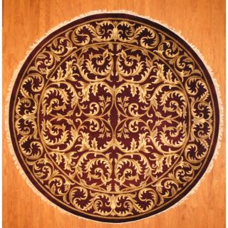 Indo Hand knotted Tibetan Burgundy/ Ivory Wool Rug (10 Round