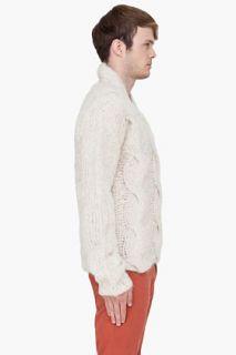 Ann Demeulemeester Ivory Mohair Alpaca Knit Sweater for men