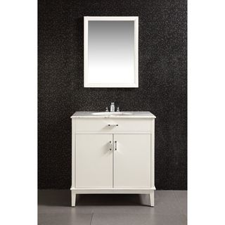 Oxford White 30 inch Bath Vanity with 2 Doors and White Marble Top