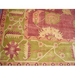 Egyptian Red/ Green Rug (96 x 126)
