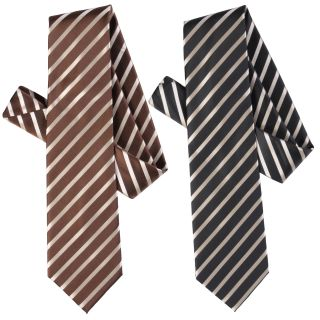 Boston Traveler Mens Diagonal Stripe Microfiber Tie and Hanky Set