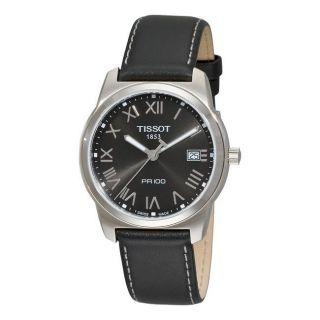 Tissot Mens T Classic PR 100 Black Dial Black Leather Strap Watch