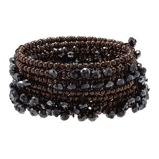 Morgan Ashleigh Brown plated Black Glass Wrap Bracelet