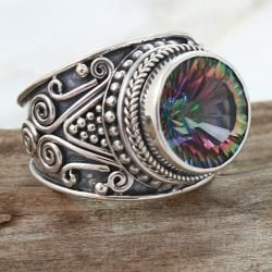 Sterling Silver Round Exotic Fire Quartz Princess Ring (Indonesia