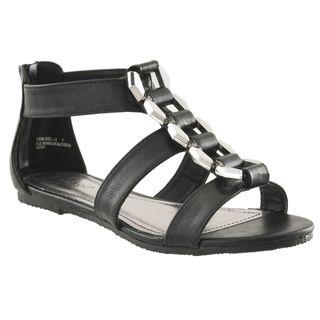 Riverberry Womens Fenchel Black Link detail Roman Sandals