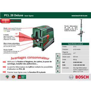 BOSCH Niveau laser PCL 20 + tige télescopique   Achat / Vente