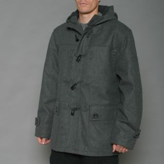Imperious Mens Charcoal Grey Wool blend Faux Shearling Hooded Toggle