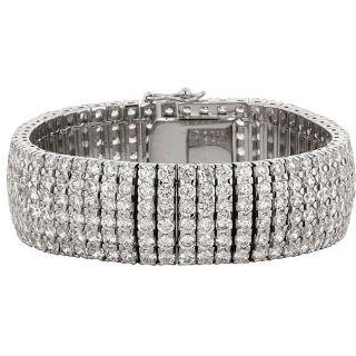 Kate Bissett Silvertone Brass Clear Cubic Zirconia Tennis Bracelet