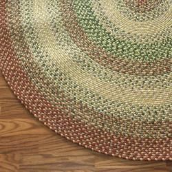Handmade Alexa Reversible Braided Rust Lodge Rug (6 Round