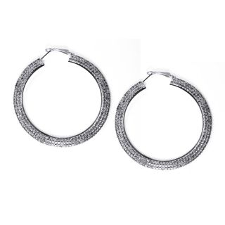Lillith Star Silvertone Clear Crystal Hoop Earrings MSRP $58.00 Today