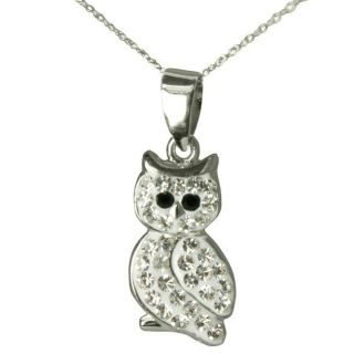 Sterling Silver Crystal Owl Necklace