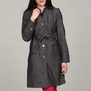 Calvin Klein Womens Denim Belted Button Front Coat