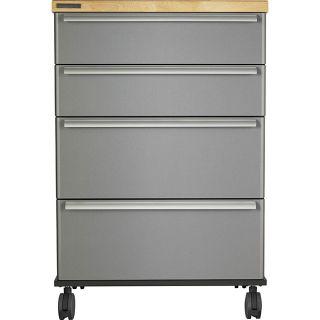 Steel Grey 4 drawer Rolling Cart