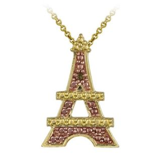 DB Designs 18k and Rose Gold over Silver Champagne Diamond Eiffel