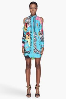 Versace Sky Blue Hippie Printed Silk Blouse Dress for women