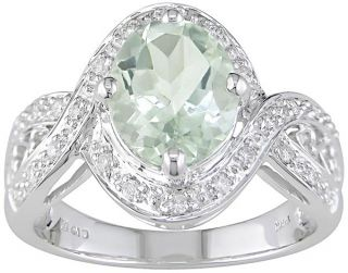 14k Gold 1/6ct TDW Diamond Green Amethyst Ring