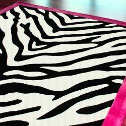 Handmade Alexa Pino Kids Zebra Pink Border Rug (5 x 8)