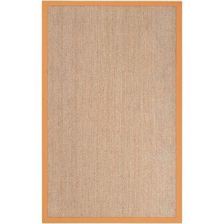 Hand woven Orange Vessel Natural Fiber Seagrass Cotton Border Rug (5