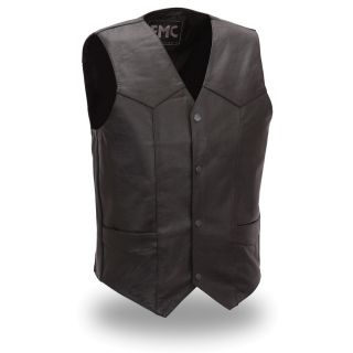 FMC Mens Classic Tall Four Snap Black Leather Vest
