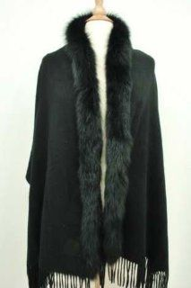 Jet Black Cashmere Cape Wrap Shawl with One Side Fox Fur