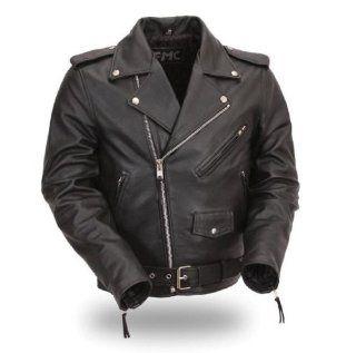FMC® Mens Classic Side Lace Motorcycle Leather Jacket. Action Back