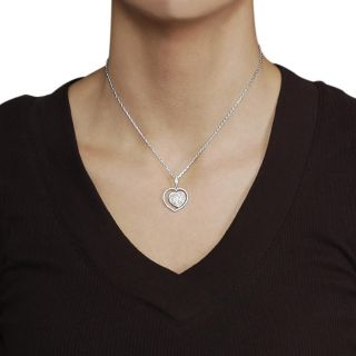 Journee Collection Silvertone Pave set CZ Heart Necklace