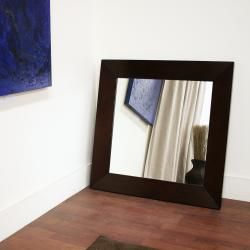 Doniea Dark Brown Wood framed 31.5 inch Square Mirror