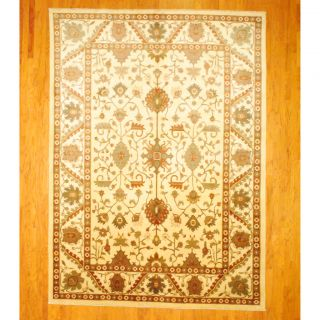 Afghan Hand knotted Vegetable Dye Oushak Ivory/ Green Wool Rug (9 x