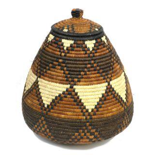 Ukhamba Diamond Pattern Brown Beer Basket (South Africa)