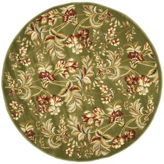 Lyndhurst Collection Floral Sage Rug (7 Round)