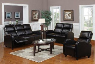 2 Pieces Reclining Living Room Set in Black Bonded Leather