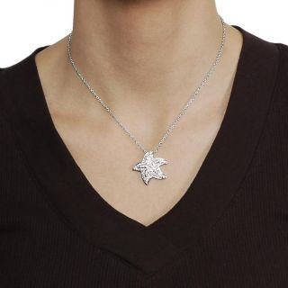 Journee Collection Silvertone Pave set CZ Starfish Necklace