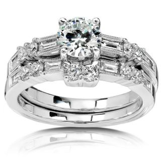 18k Gold 1 5/8ct TDW Round cut Diamond Bridal Set (I J, SI