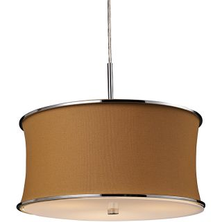 Caramel Brown Polished Chrome 3 light Drum Pendant
