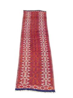 Afghan Soumak Hand knotted Red/ Ivory Rug (35 x126)