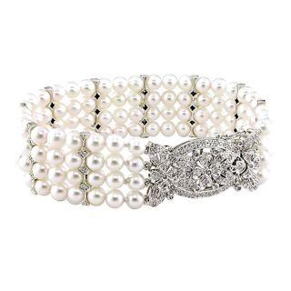 14k White Gold White Akoya Pearl and 2/5ct TDW Diamond Strand Bracelet