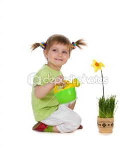 Cute little girl watering the flower  Foto stock © Tetiana