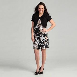 Connected Apparel Womens Brown Abstract Dress Set