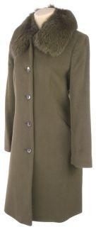 Albert Nipon Brown Walking Coat w/Fox Trim