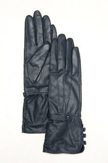 Designers Remix  Slate Blue Leather Gloves for women
