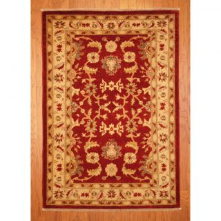Afghan Hand knotted Vegetable Dye Red/ Ivory Wool Rug (41 x 6