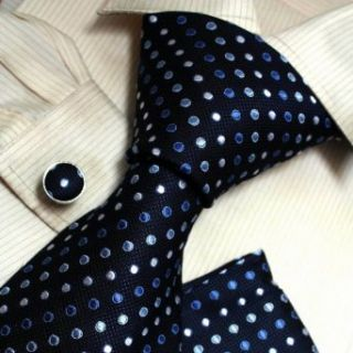 Blue Polka Dots Woven Silk Tie Handkerchiefs Cufflinks