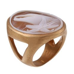 18k Gold Hand carved Shell Cameo Dolphin Ring