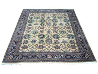 Indo Mahal Hand knotted Gold/ Black Rug (119 x 148)