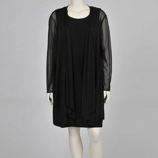 Onyx Nite Womens Plus size Black 2 piece Chiffon Jacket Jersey Dress