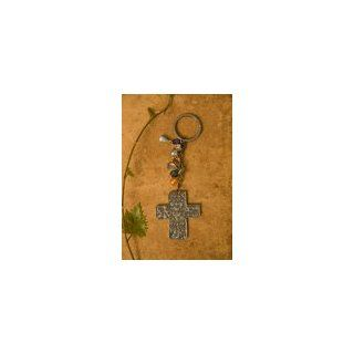 Metal Cross Key Chain Stamped with Be Blessed Natural Life