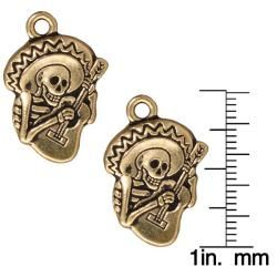 Goldplated Pewter Dia De Los Muertos Guitar Pendants (Set of 2